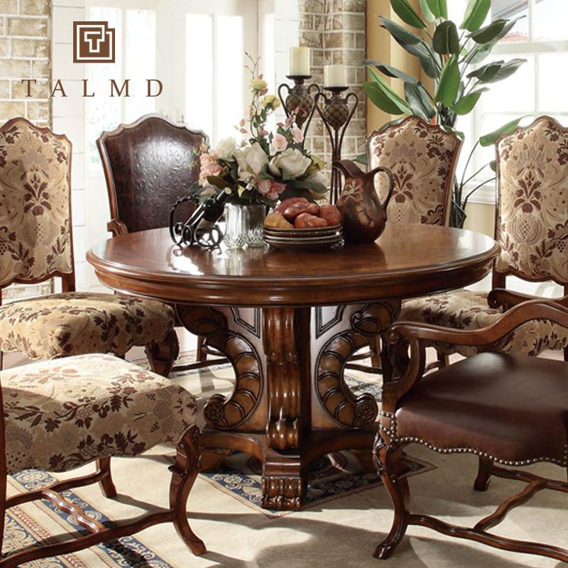 talmd家具美式乡村实木餐桌圆餐桌宜家简约小户型6人实木餐桌定制图片