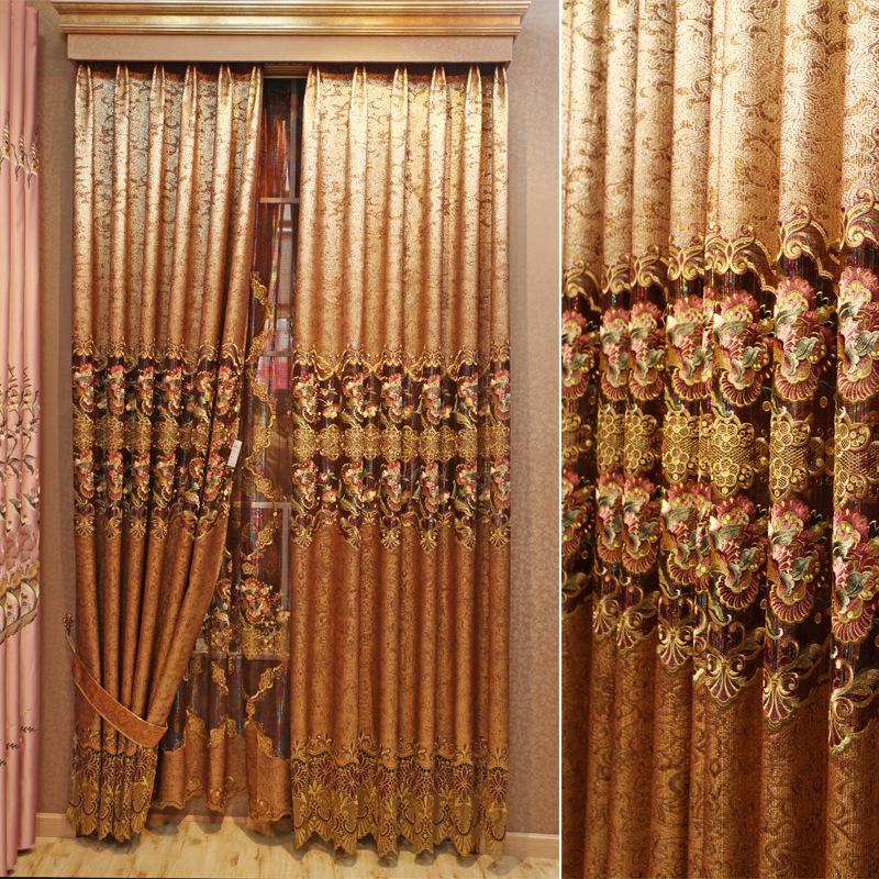 品牌欧式窗帘中式客厅豪华卧室高档窗帘镂空奢华绣花新品金箔满堂图片