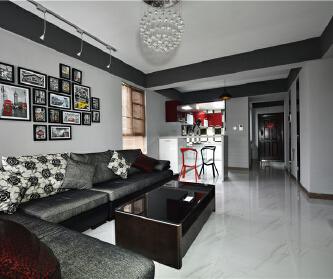 两房两厅黑白灰颜色巧妙搭...