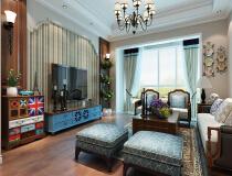 城开绿园155.6平四居室美式风格装修设计方案