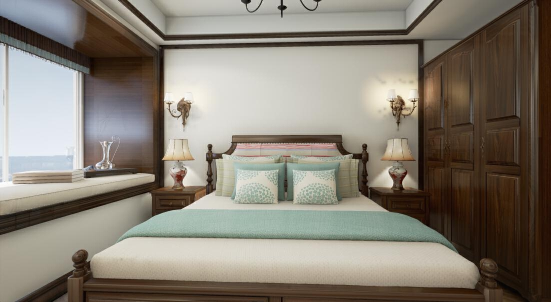 主卧的设计沿用了美式田园风格务实、规范、成熟的特点,宽敞的卧室有着历史气息,没有繁琐和豪华把美式和田园完美的融合,回归到大自然的感觉,让卧室变得舒适、清爽。,卧室,