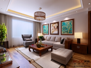 晓港名城3室2厅165平米中式风格