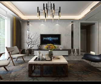 鲁能领秀城装修三居室现代...