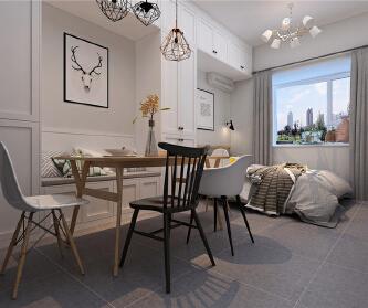 一室一厅小户型北欧风格装...