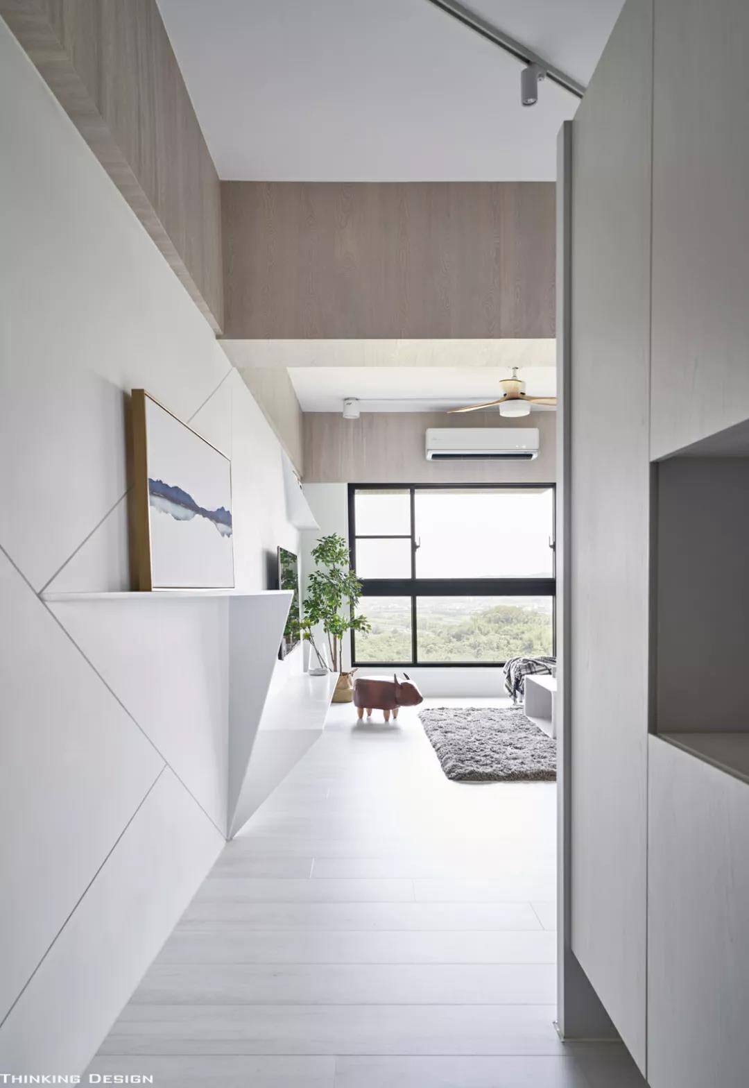 99㎡现代极简,几何线条的设计,装出别致的家