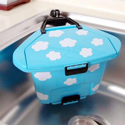 【特价】韩国云朵吸盘垃圾桶架垃圾筒杂物筒 时尚创意桌面收纳桶,浴室储物,