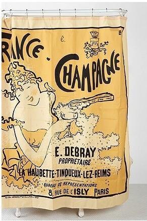 美国代购 urban outfitters Champagne Shower Curtain 香槟浴帘,