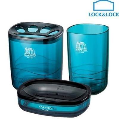 代购 韩国乐扣乐扣浴室用品3件套/牙刷座 漱口杯 皂盒,