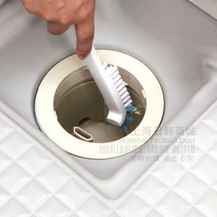 日本AISEN正品排水口清洁刷 里侧缝隙刷 地板刷 除垢水槽刷BKA05,