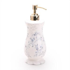 [玲珑堂] 外贸独家 典雅浮雕蓝花骨瓷皂液瓶 浴室洁具,