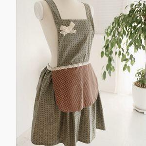 韩国代购  可爱小点点双层工作服围裙/漂亮主妇厨房工作服 绿色,
