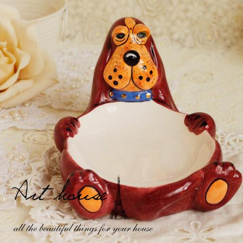 出口欧美手绘浮雕可爱狗狗皂盒 外贸出口原单 卫浴用具陶瓷皂盒,