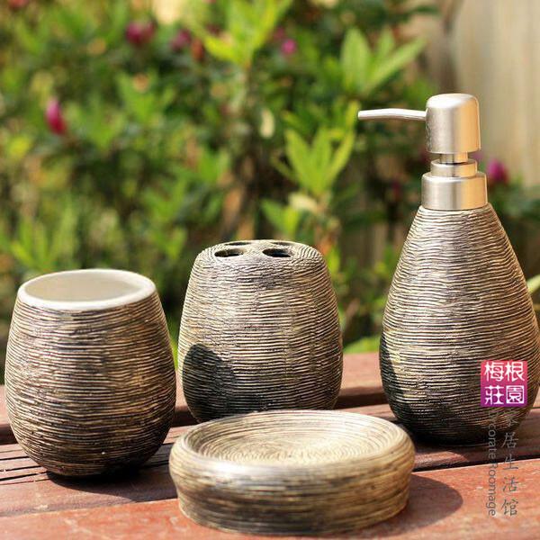 外贸做旧条纹陶瓷卫浴四件套 卫浴套装浴室用品套件 礼物,