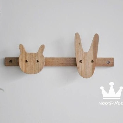 WOODHOO出口外贸原单 高品质实木制 儿童挂衣架 壁挂衣帽架2色入,
