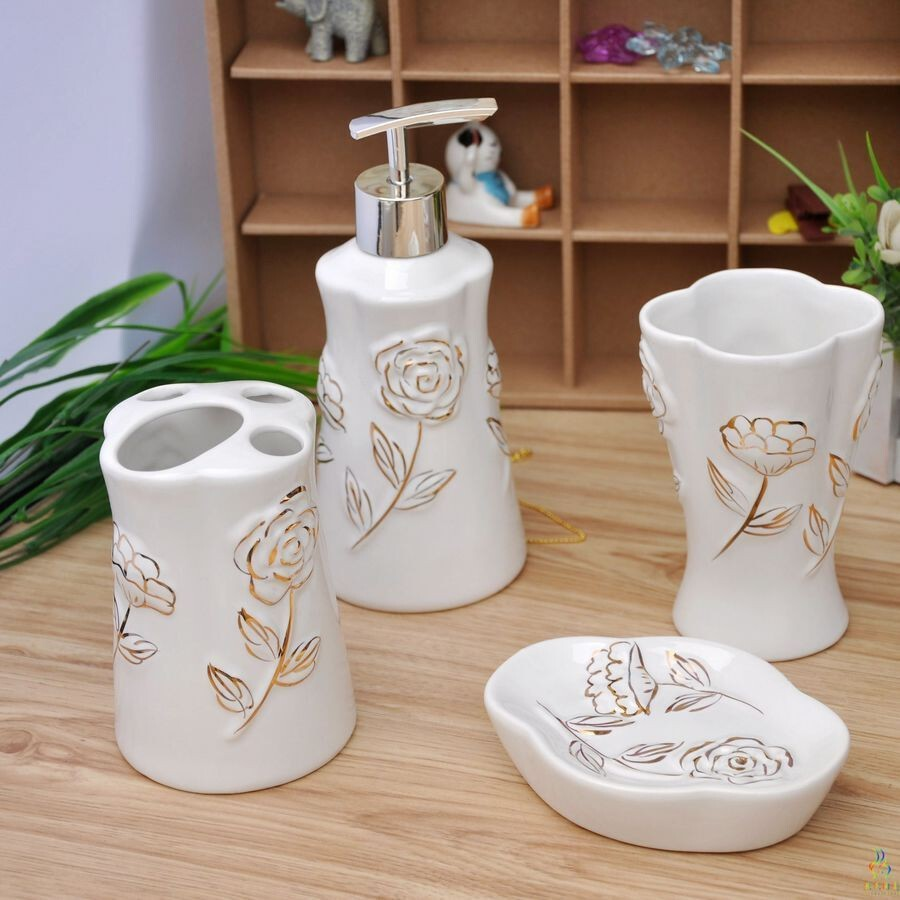 创意浴室用品套件陶瓷卫浴四件套新婚庆卫浴套装欧款宫廷式,