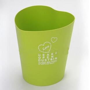 韩国 日用品 家居用品 进口 垃圾桶 果皮桶 杂物桶 心形 绿色,