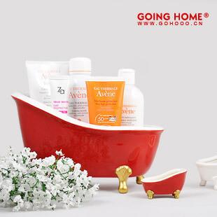 陶瓷 大号浴缸浴室收纳盒  创意礼品 家居摆件,浴室储物,