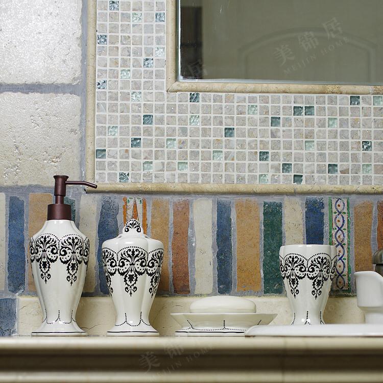 玫瑰罗曼Rose&Roman正品 手绘陶瓷 安吉丽亚浴室卫浴4件套,