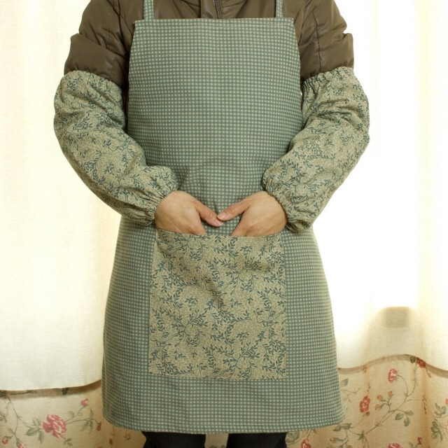 美式田园/乡村 围裙 65x70 含袖套 灰绿色,