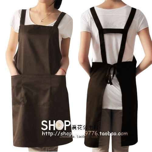 围裙 韩 版 可爱 工作服 日本 外贸 时尚围裙 男女咖啡色 代印刷,
