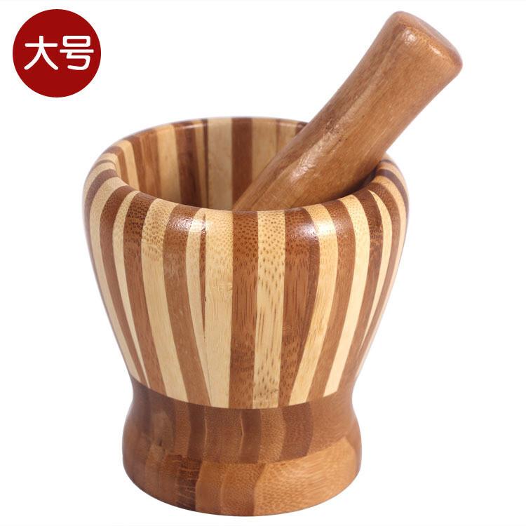 厨房竹制捣蒜器 捣蒜罐 捣面膜罐 捣药罐搅蒜器 研钵器捣蒜缸工具,厨房工具,