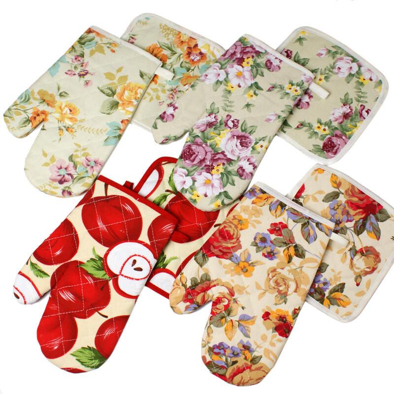小艾家居 田园 帆布微波炉手套加厚锅垫两件套 隔热手套 隔热垫,厨房工具,