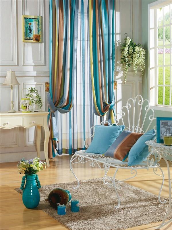 ,客厅,窗帘,地中海,蓝色,地毯,沙发,台灯,