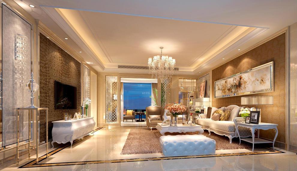 客厅的设计以石线条,艺术漆作为主材料,营造出一个现代的欧式气氛,线条简洁明了,材料实用且不失欧式的格调。,135平,20万,三居,欧式,黄色,客厅,