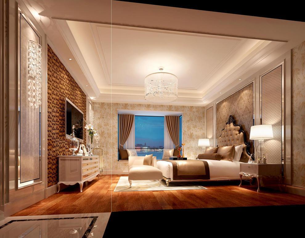 卧室是家的重点,更是休息的空间,所以采用了木地板和艺术漆,让空间更温馨.舒适,舍弃了传统的墙纸,使装修更耐用。,135平,20万,三居,欧式,卧室,黄色,