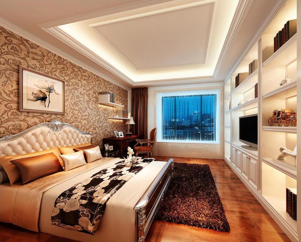 多功能房,放弃了传统的意义,既起到书房的作用,又拥有休息室兼客房的功能。,135平,20万,三居,欧式,卧室,黄色,
