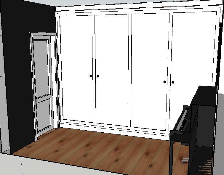 左边黑色墙面为黑板漆,卧室,