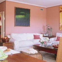 客厅十分原始自然,精心放置的百合花也十分引人注目,纯朴却不失精彩。大幅的装饰画与瑰色墙面和白色的沙发呈鲜明对比,显得客厅充满活力。