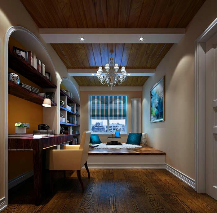 本案的设计风格为简约欧式,营造典雅、自然、高贵的气质、浪漫的情调是本案的主题。 简约、质朴的设计风格是众多人群所喜爱的,生活  在繁杂多变的世界里已是烦扰不休,而简单、自然的生活空间却能让人身心舒畅,感到宁静和安逸;藉着室内空间的解构和重组,便可以满足  我们对悠然自得的生活的向往和追求,让我们在纷扰的现实生活中找到平衡,缔造出一个令人心弛神往的写意空间。  从餐厅角度看向客厅。整体的设计中,白色与暖黄色相结合打造出欧式的典雅与奢华,又更适应现代生活的休闲与舒适。 书房榻榻米的巧利用,兼具收纳和实用的两方面性。以简约的线条代替复杂的花纹,采用更为明快清新的颜色既保留了古典简欧风格,又显露  尊贵、典雅。 卧室地板选用实木地板,简约而不失高雅。壁纸选用米黄色,于整体格调相呼应。整个空间宽敞明亮,张显简约大气之风。,三居,上海装修公司,140平,效果图,高端大气上档次,18万,舒适生活,超高性价比,简欧风格,欧式,