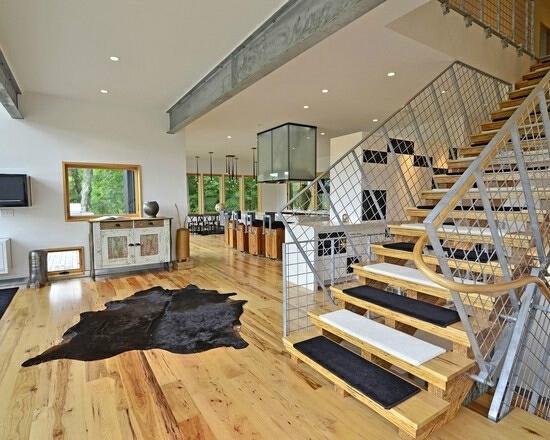 ,楼梯,客厅,现代,原木色,