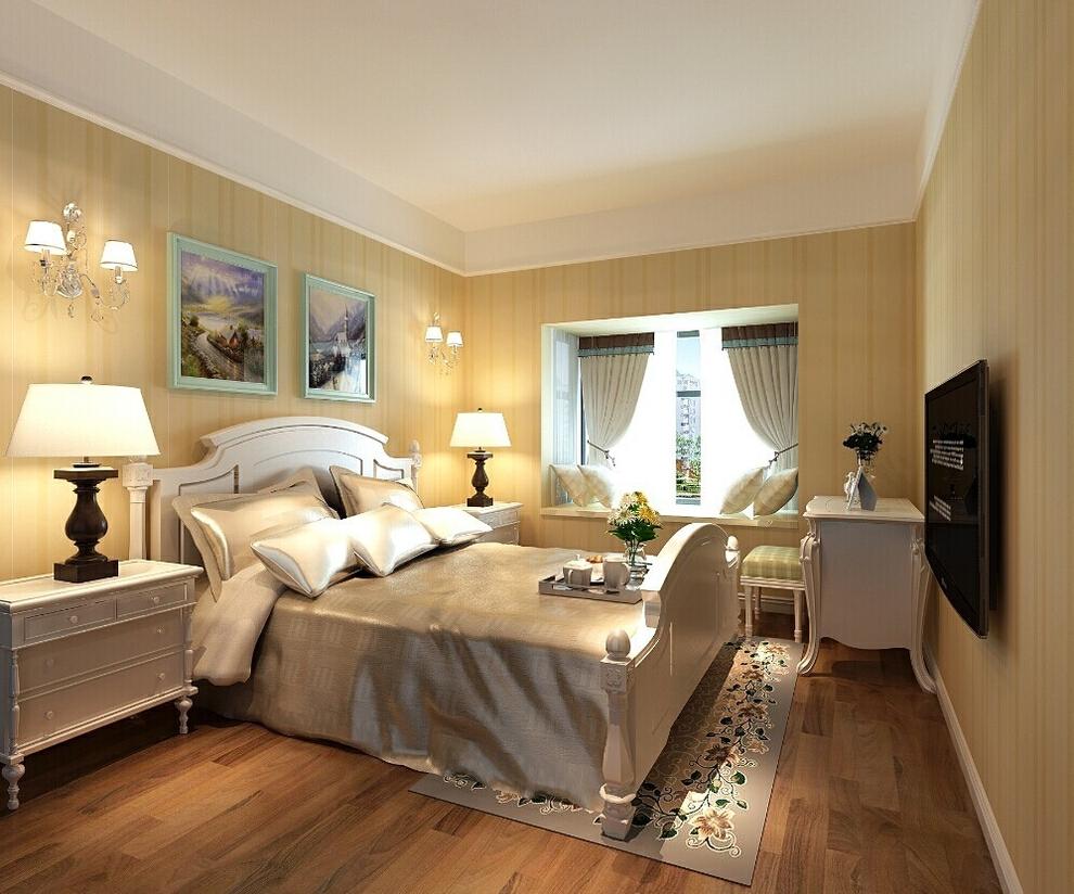 卧室的设计以温馨舒适为主,蓝色的相框,暖色的木地板;都为业主营造了良好的睡眠空间环境。,89平,6万,田园,两居,