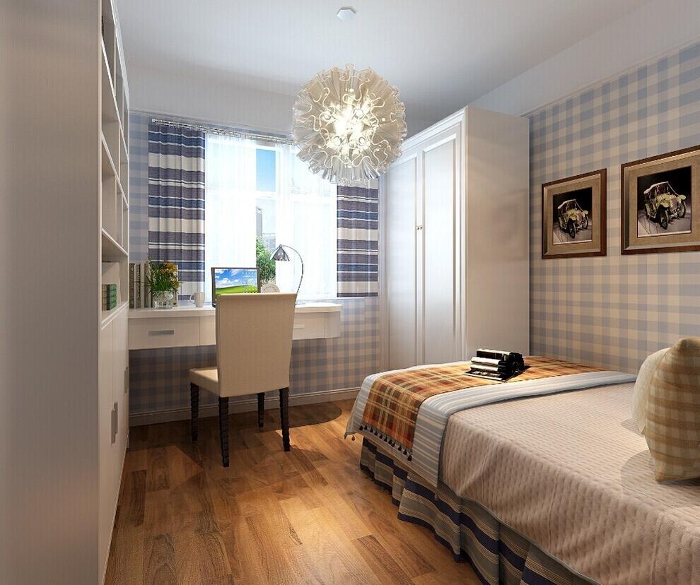 次卧是男孩房,卧室贴的是蓝色格纹图案,整洁舒适,书桌和衣柜的定制衣柜,既经济又实用。,89平,6万,田园,两居,