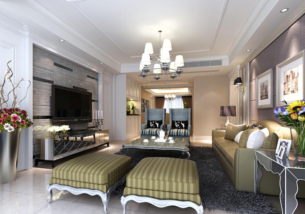 ,150平,55万,欧式,三居,客厅,装修效果图,
