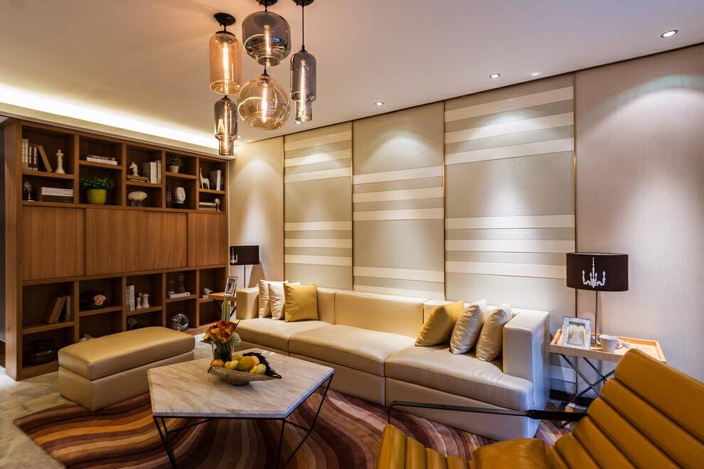 浅黄色,暖暖的色调,黄色,130平,四居,现代,客厅,45万,