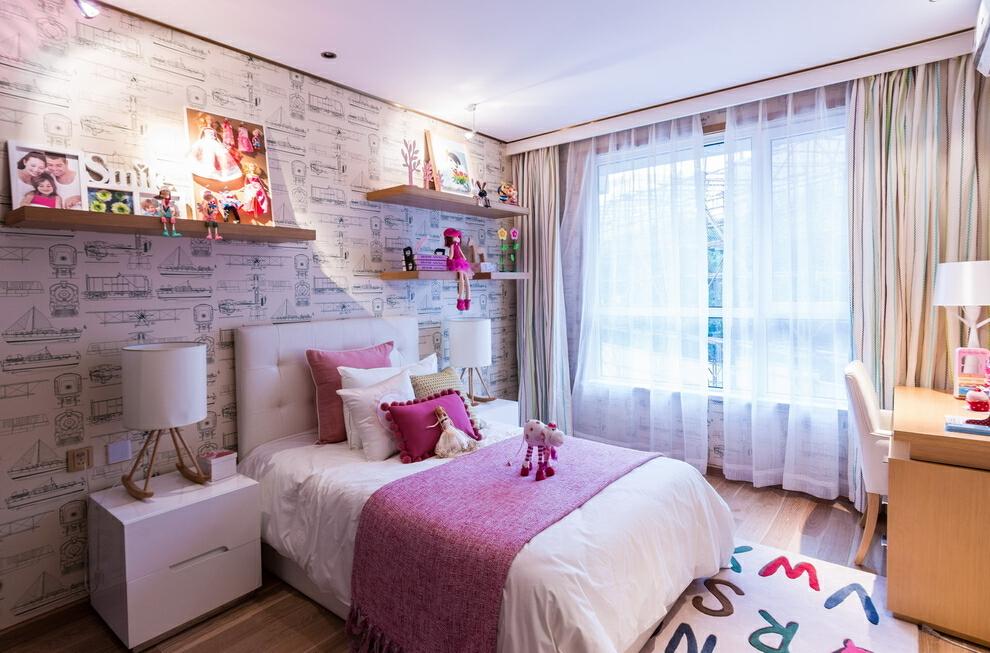 ,130平,粉色,四居,45万,卧室,现代,