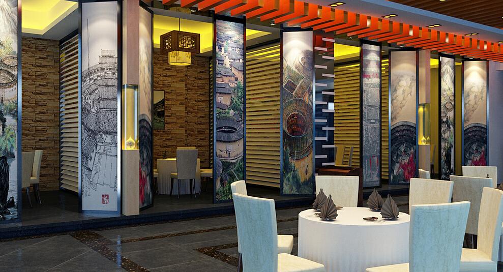 现代风格客家饭馆,小资,公装,现代,350平,效果图,50万,