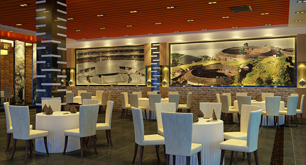 现代风格客家饭馆,公装,350平,现代,小资,效果图,50万,