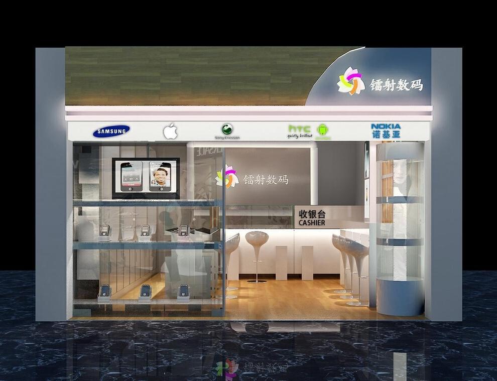 开平益华广场现代简约风格镭射数码手机店,25平,3万,现代,公装,简约,
