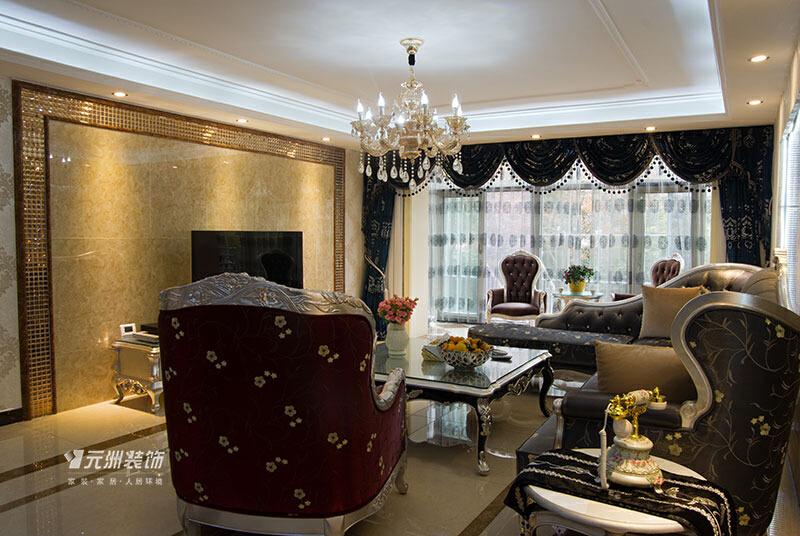 鑫界王府315平米欧式风格效果图,312平,120万,欧式,别墅,客厅,白色,原木色,黑白,