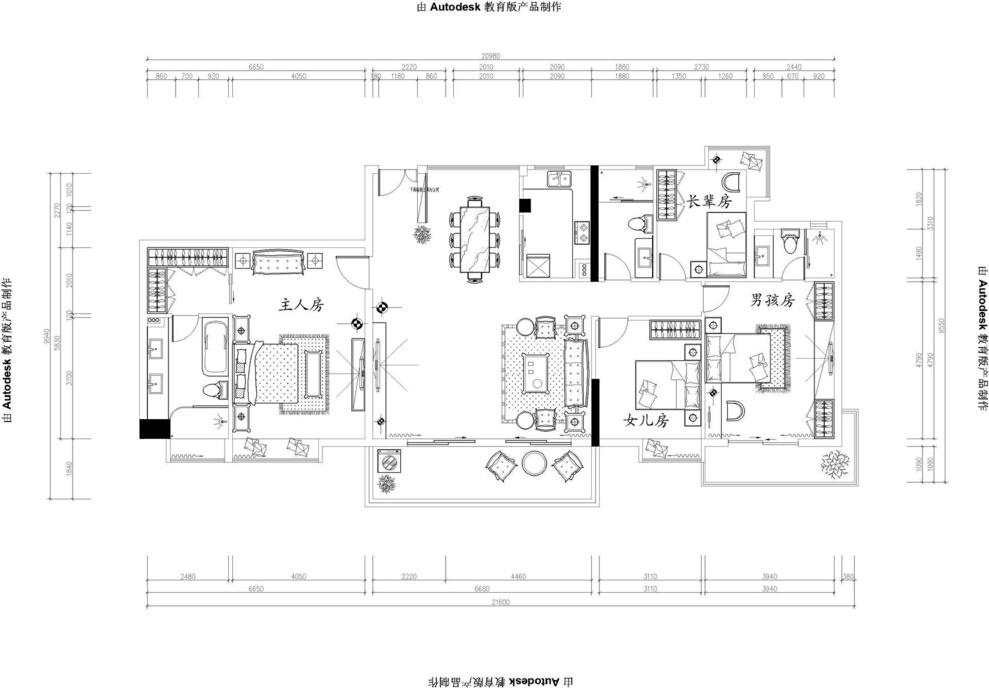 简欧风格大四房,平面图,157平,28万,欧式,四居,简约,