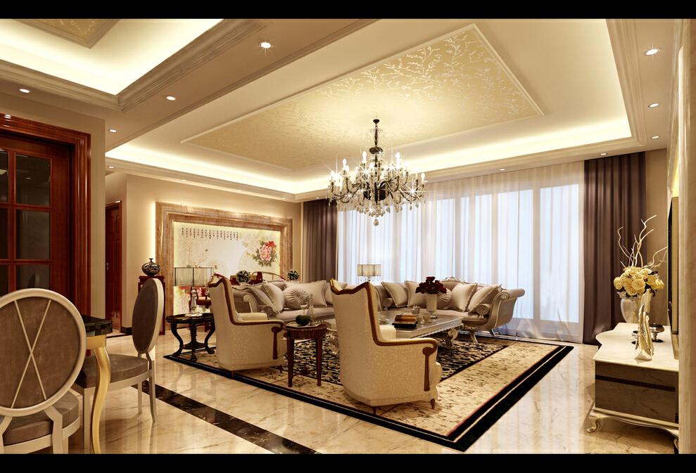 简欧风格大四房,客厅,157平,28万,欧式,四居,简约,客厅,宜家,