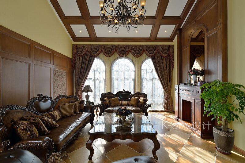 ,110万,客厅,别墅,340平,美式,