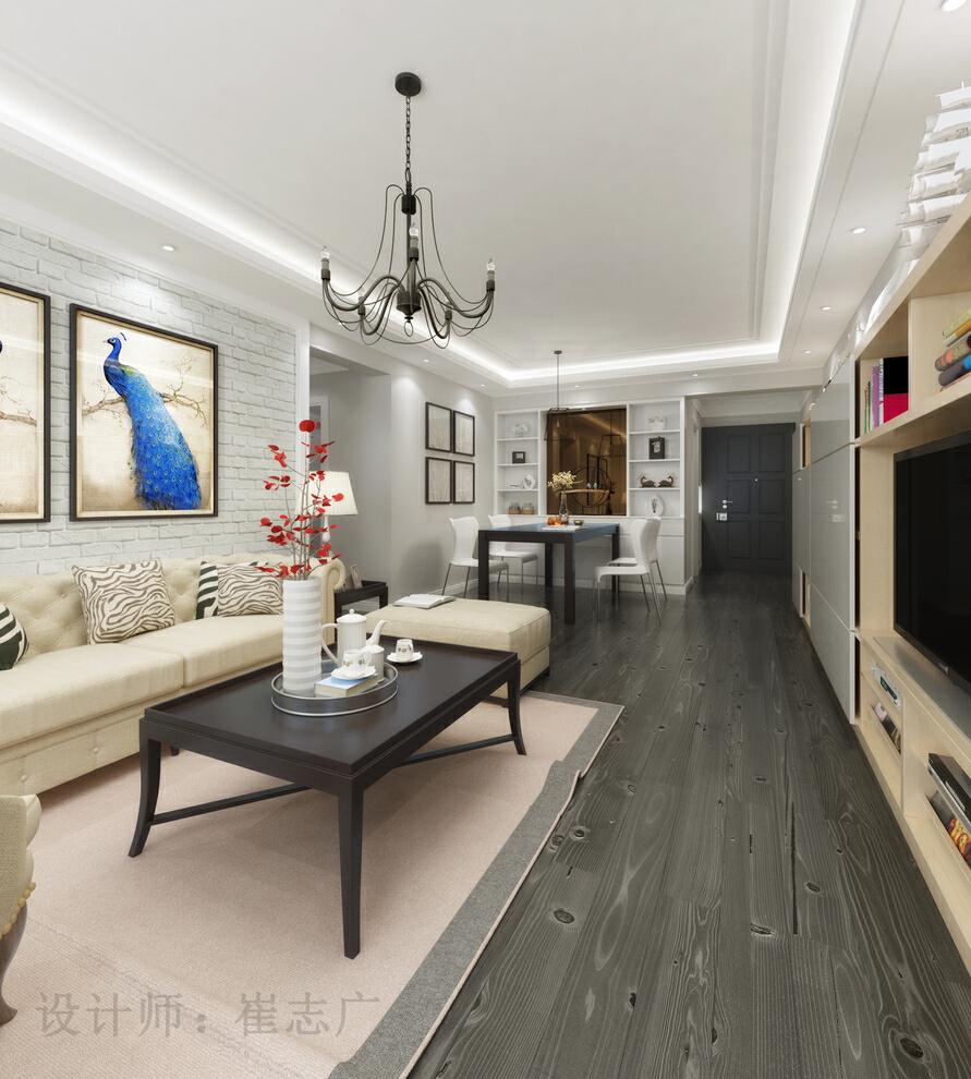 ,简约美式风格,客厅,简约,白色,美式,沙发背景墙,现代,100平客厅设计,三居,效果图,原木色,15万,