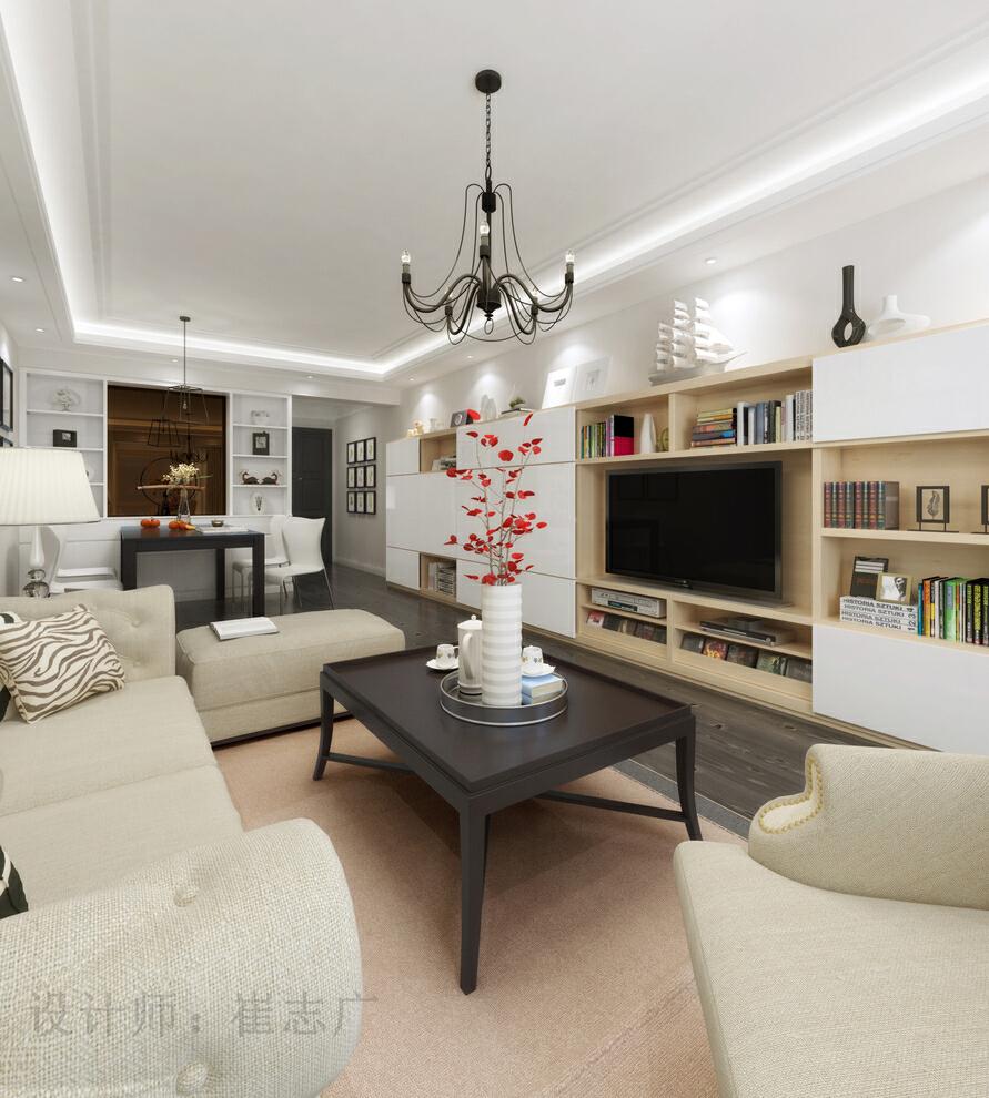 ,简约美式,三居,原木色,效果图,现代,电视墙,客厅设计,美式,客厅,简约,白色,电视柜,