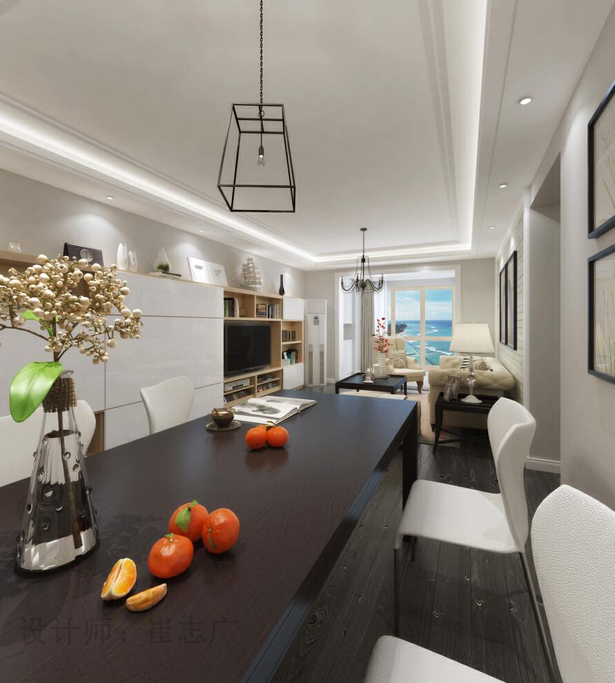,100平米,美式,白色,现代,三居,餐厅,效果图,简约美式,原木色,简约,