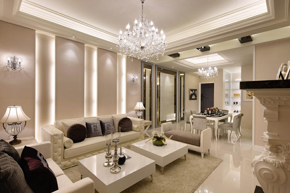 ,客厅,新古典,白色,